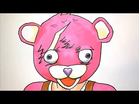 How to draw the fortnite pink bear skin step by step