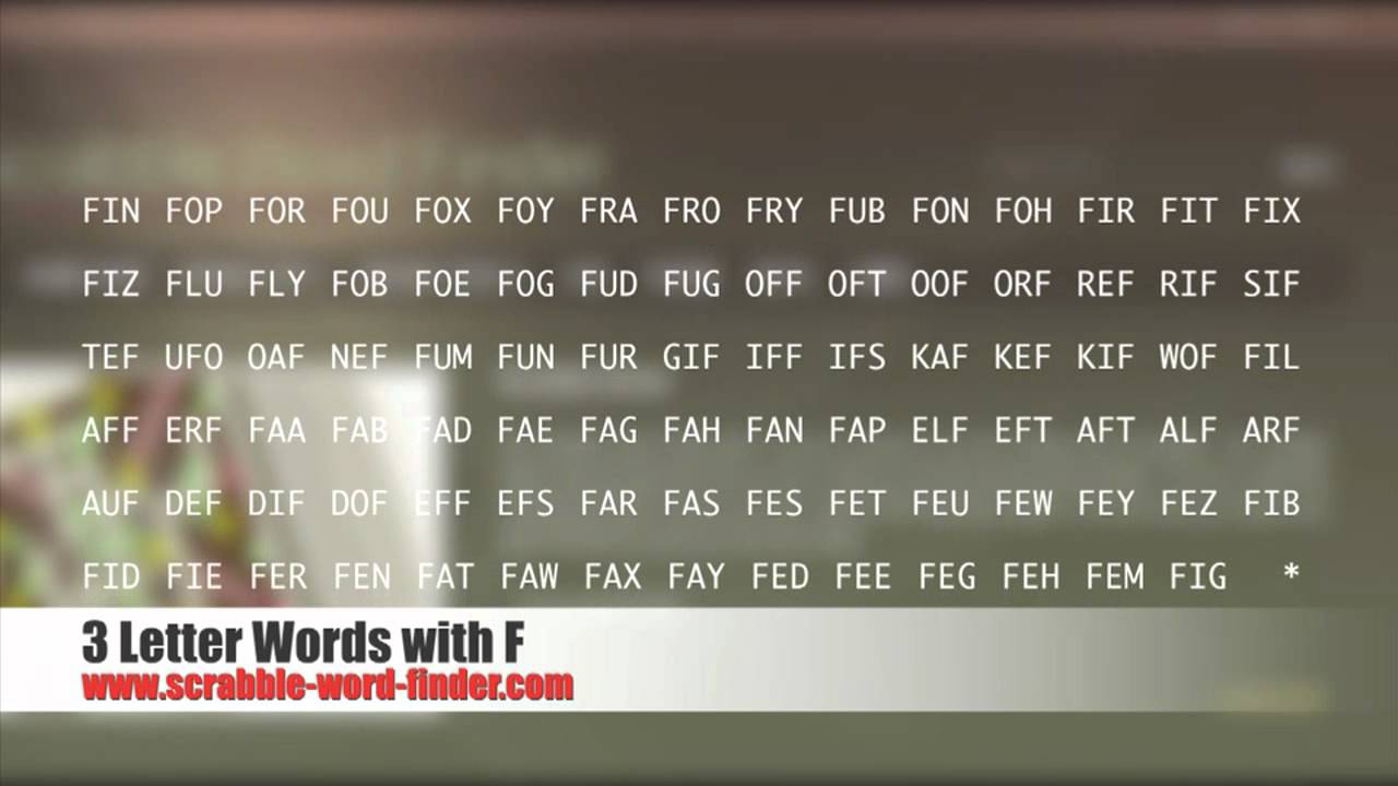 3 letter words with F   YouTube