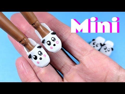 DIY Miniature Panda Slippers - Doll Shoes