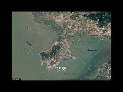 Witness the growth of a city--Satellite images of Nanshan, Shenzhen year by year since 1985