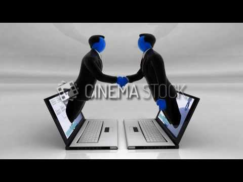 CinemaStock - 3D-Animation - 3D Animation of Online Business Communication Between Two Laptops that
