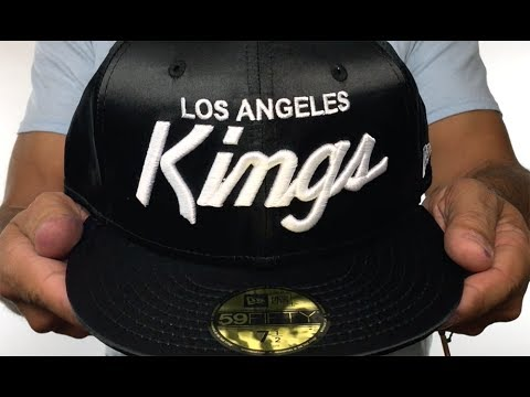 4aaea5a8524 ... new style kings script satin basic black fitted hat by new era dee3f  aa4a8