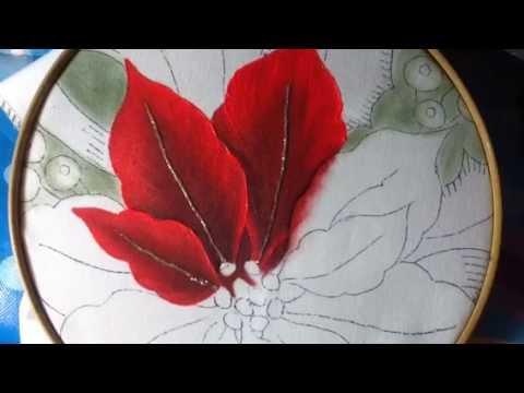 Pintura en tela nochebuenas 1 con cony youtube - Pintura en tela motivos navidenos ...