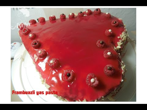 Frambuazlı Yaş Pasta tarifi # Kalip kullanmadan kalp  yaş pasta nasil yapilir?