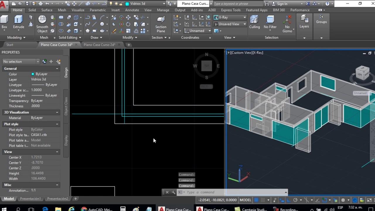 Curso autocad 3d dibujar plano de casa en 3d parte 6 for Programa para dibujar casas