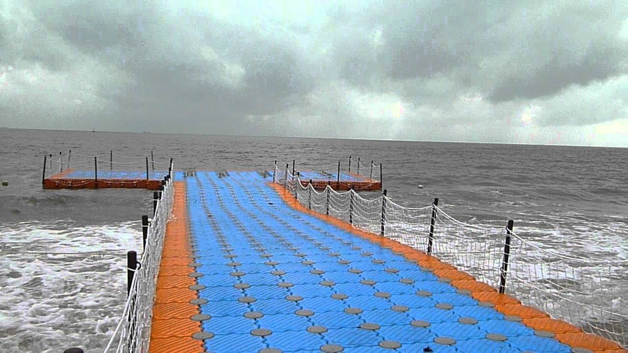 Magic-Float modular floating dock system at sea - YouTube