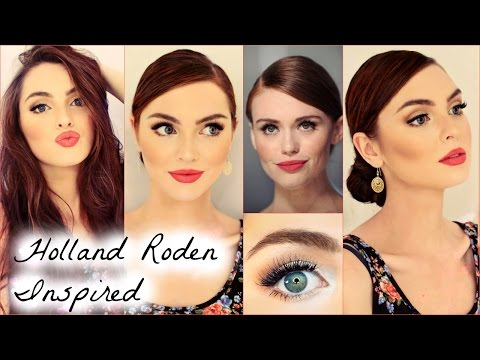 Holland Roden Makeup with Coral Red Lip & Quick Bun Tutorial