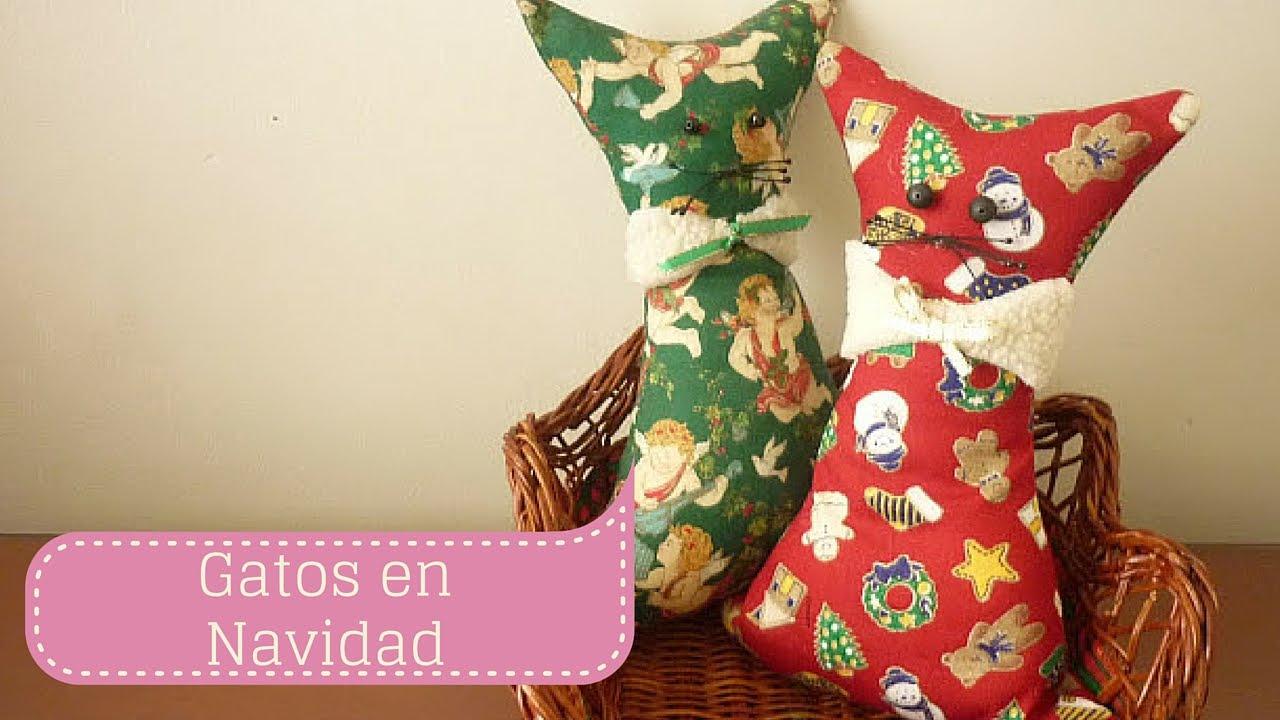 Manualidades para navidad gato en tela para decorar diy for Figuras de navidad para decorar