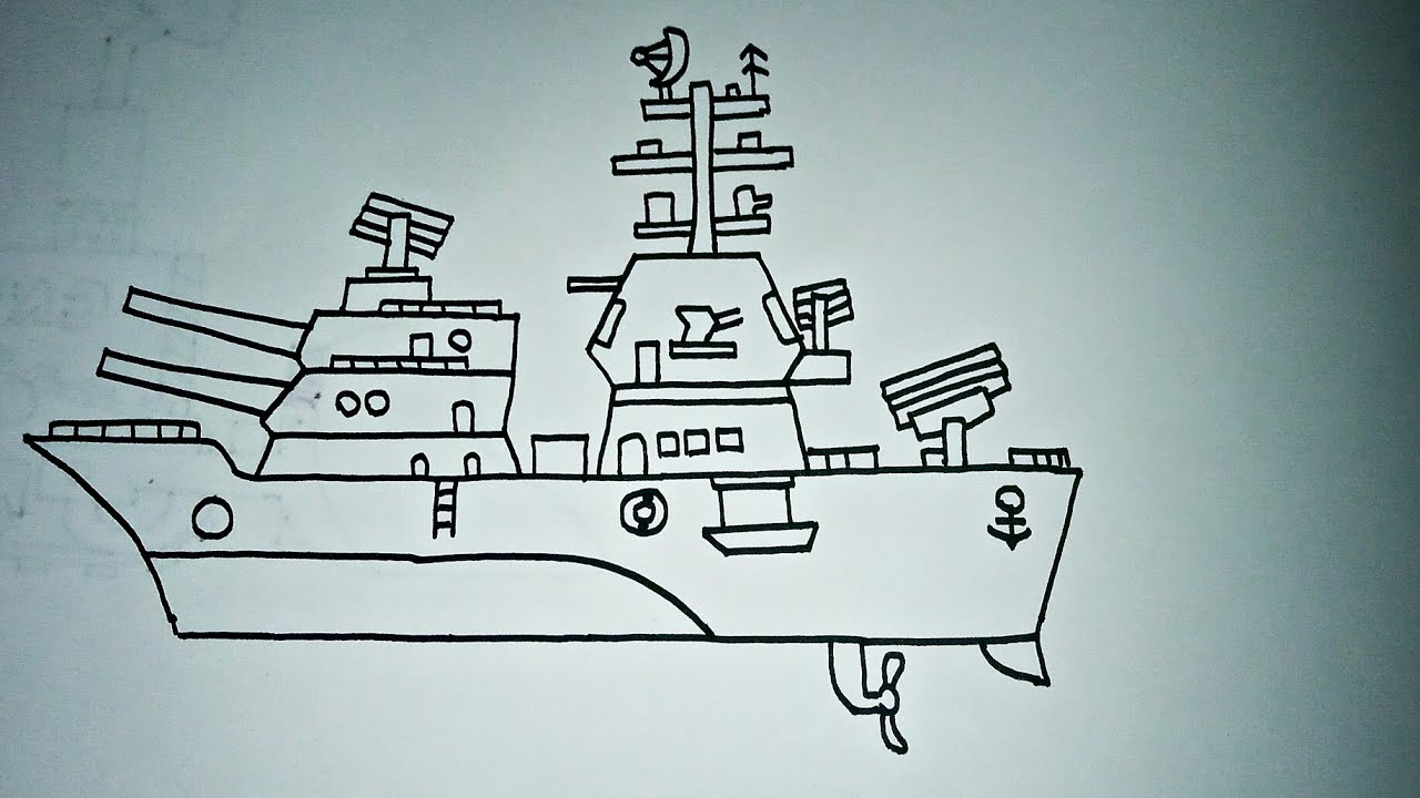 Cara Menggambar Kapal Perang Part 2 Senjatanya Meriam 200mm
