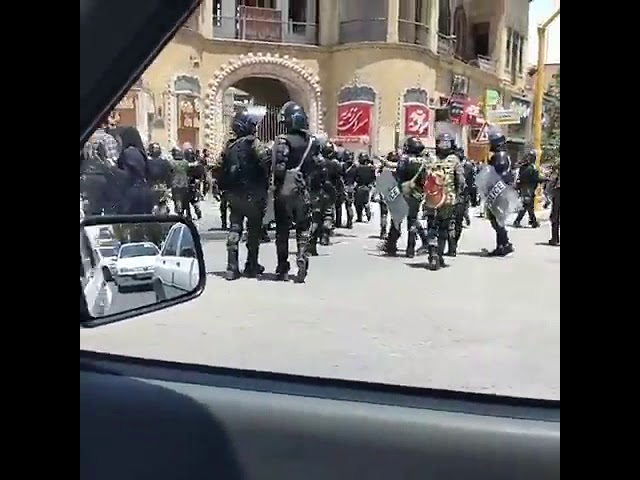 Shiraz, Iran, August 2,  Large number of security forces dispatched to quell the protesters.