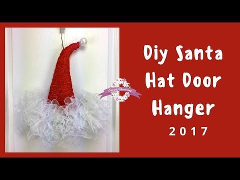 Deco Mesh Santa hat door hanger tutorial