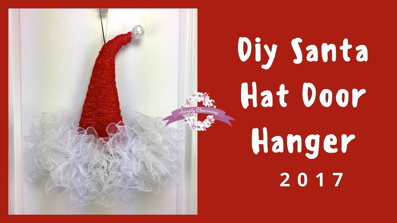 01c77fbe4d14a Deco Mesh Santa hat door hanger tutorial - YouTube