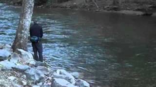 Dustin Fly Fishing and hooking trout-Cranberry River Trip