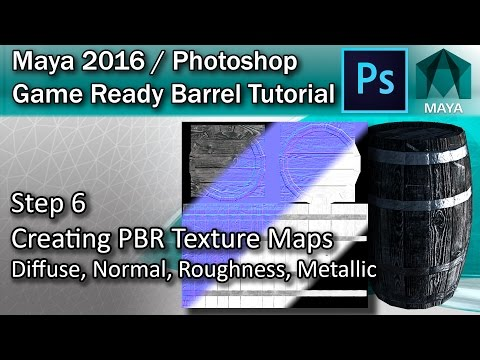#6 Creating PBR Texture Maps in Photoshop - Maya High Poly to Low Poly Tutorial
