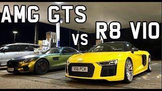 Audi R8 V10 vs AMG GTS & Homemade Fireworks *FAIL*