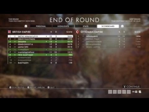 Battlefield™ 1 TURNING TIDES DLC TDM 22Kills 3DEATHS |