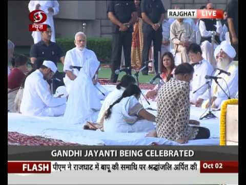 PM pays floral tributes to Mahatma Gandhi on his 147th birth anniversary