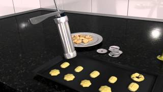 Machine Stainless Steel Biscuit Maker and Churro Maker with 20 Discs and 4 Icing Tips Cookie Press Homemade Baking Tool Biscuit Cake Dessert DIY Maker and Decoration