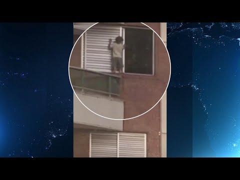 Vídeo: Criança anda em beiral de janela a mais de 30 metros de altura | Primeiro Impacto (22/02/18)