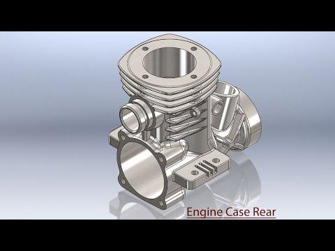 Engine Case Rear (Video Tutorial) SolidWorks