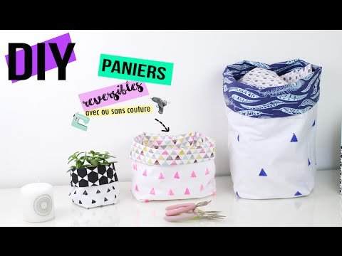 diy deco panier rangement en tissus avec ou sans couture fabric bucket how to diy francais. Black Bedroom Furniture Sets. Home Design Ideas