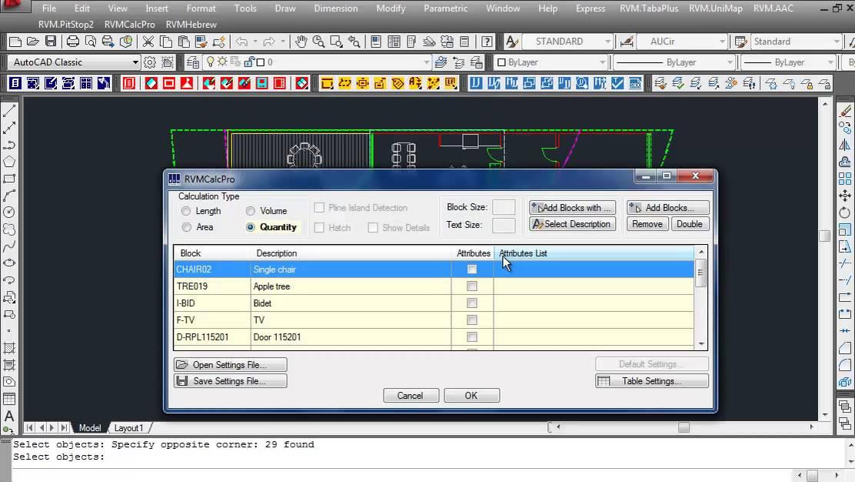 Quantities Calculation in AutoCAD and Bricscad
