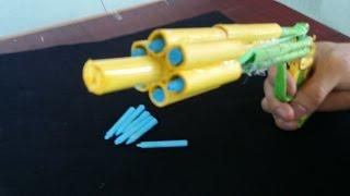 Как сделать бумажный пистолет, который стреляет | 6 пуль | с триггером