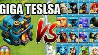 Max TH Giga Tesla Vs All Max Troops | Ultimate Battle | Clash Of Clans