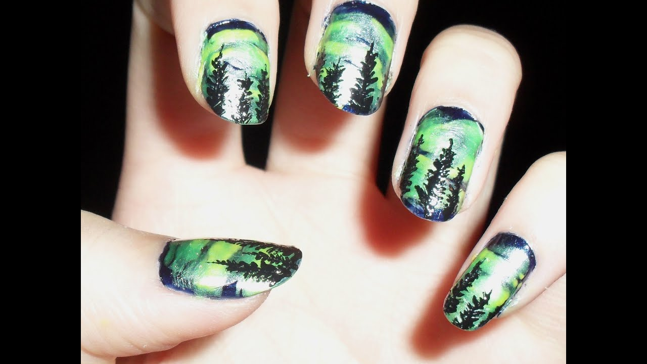 The Northern Lights And The Pine Trees Nail Art Youtube