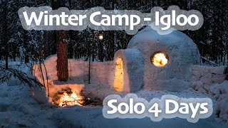 4 Days SOLO WINTER Camp - IGLOO Build - CHAGA Harvesting - Snow Shelter - Snowfall