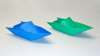 How to Make PAPER SPEED BOAT That Floats On Water | Origami Boat Step by Step