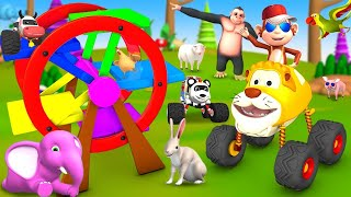 Monkey Magician Turns Animals into Toy Monster Vehicles Ferry Wheel   Funny Animals 3D Comedy Video