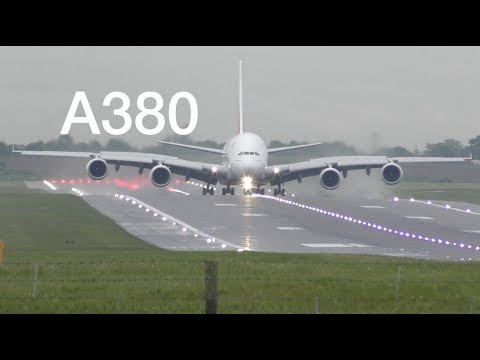 Airbus A380 landing Birmingham airport after heavy rain Emirates airline