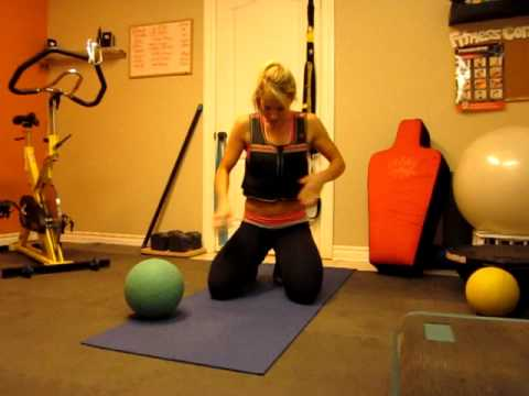 3 trx ab exercises using a medicine ball and weighted vest