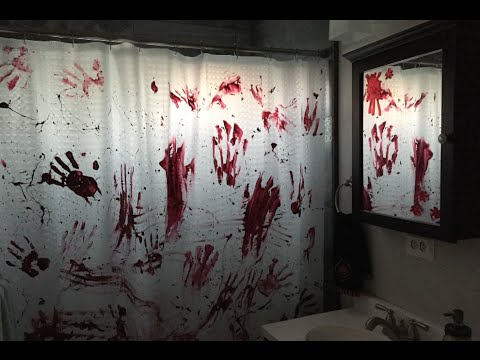 PSYCHO Inspired Halloween Shower Curtain Turorial