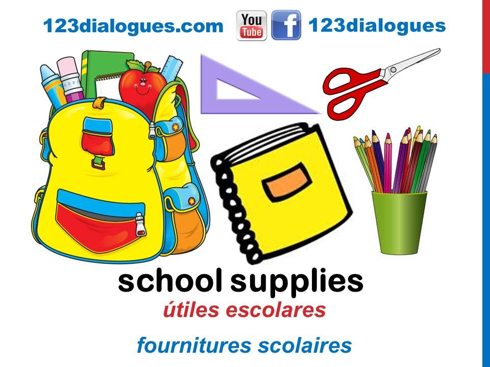 Curso De Ingles 62 Utiles Escolares En Ingles Material Escolar