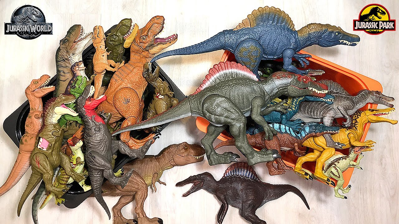80 SPINOSAURS VS TYRANNOSAURS! Jurassic World and Jurassic Park Dinosaurs in a box!