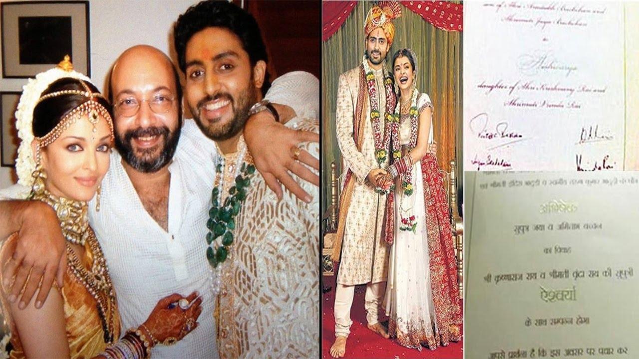 ऐस थ ऐशवर य और अभ ष क श द र ड Aishwarya Abhishek Marriage Card You