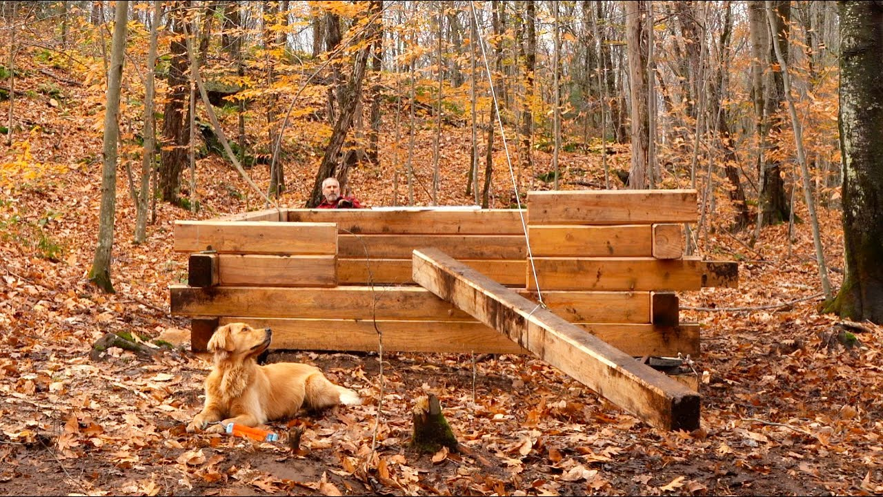 Building A Square Off Grid Log Cabin Lifting Heavy Logs Squirrel Confit For Lunch Youtube