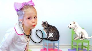 Nastya hayvan kliniğinde oynuyormuş gibi yapıyor, çocuklar için komik bir hikaye