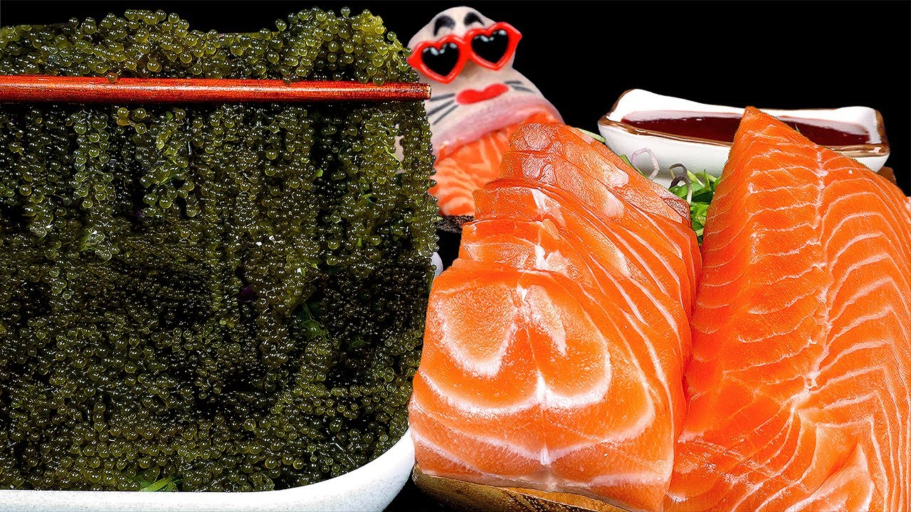 ASMR MUKBANG Seagrape & Salmon REALSOUND EATING SHOW (4K)