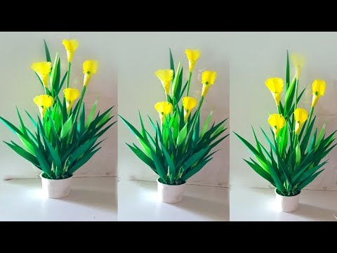 home decoration plant with paper / handmade paper plant / how to make paper miniature plants