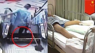 Ногу уборщика оторвало в очередном инциденте с эскалатором(, 2015-08-04T07:06:19.000Z)