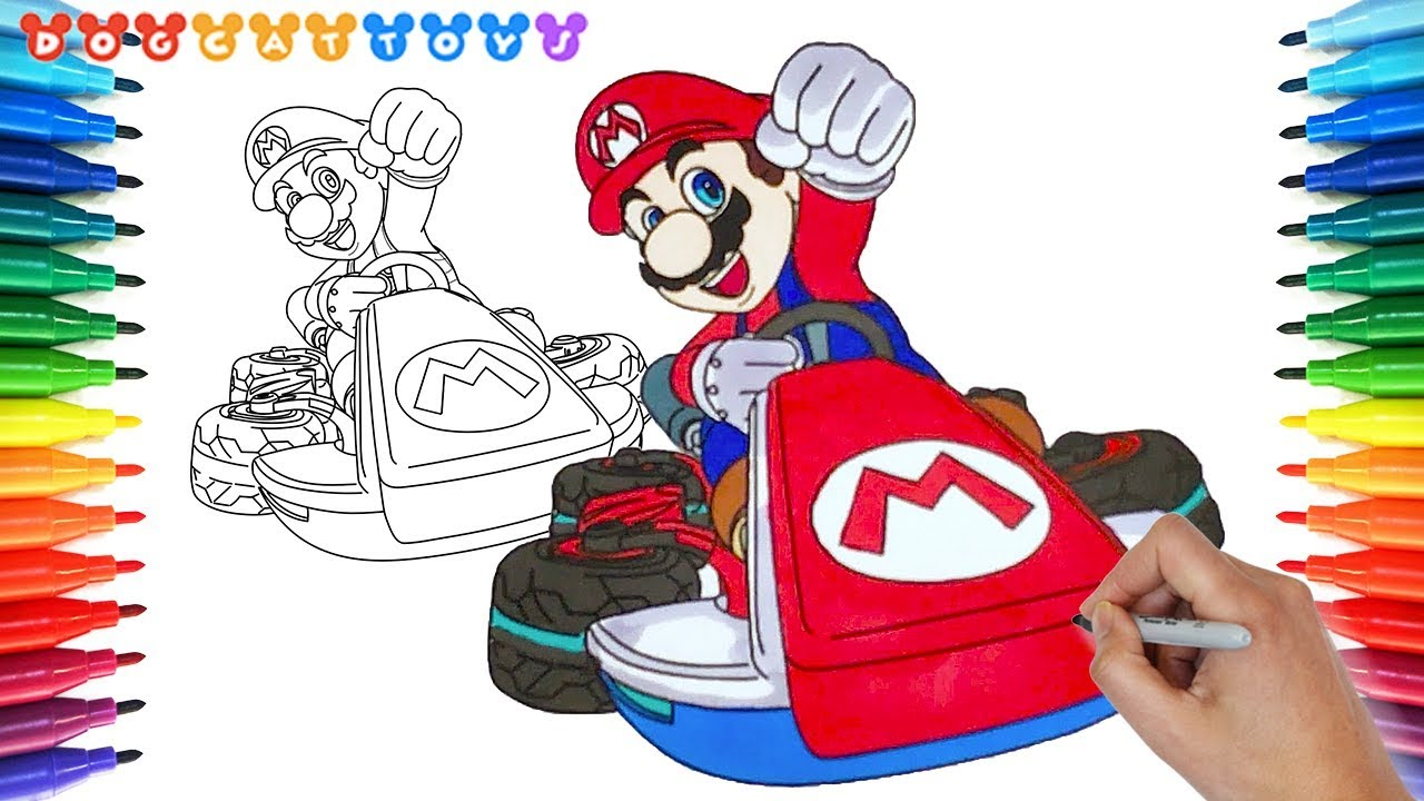 How to Draw Mario Kart 8 Deluxe, Mario #154 | Drawing Coloring Pages ...