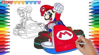 How to Draw Mario Kart 8 Deluxe, Mario #154 | Drawing Coloring Pages Videos for Kids