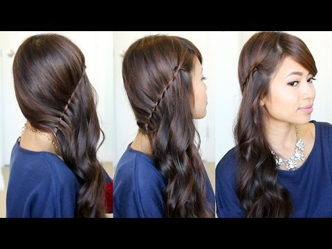 Side Swept Waterfall Twist Hairstyle feat. NuMe Curl Jam