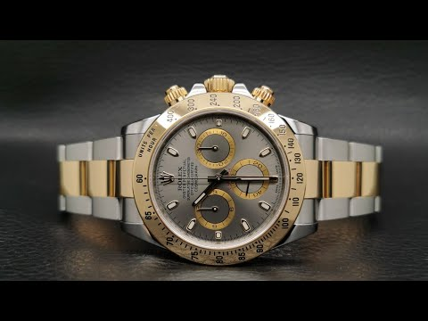 Pre-Owned Rolex Cosmograph Daytona Ref.116520 Slate Grey Dial Yellow Gold Rolesor 40 Mm