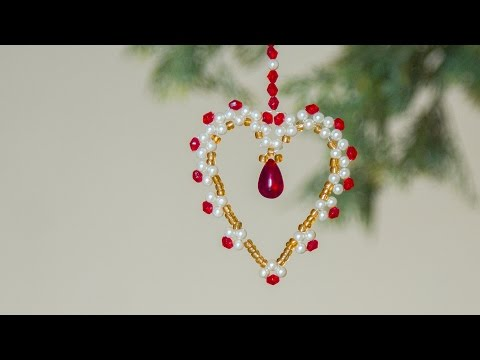DIY beaded heart Christmas ornaments | Christmas decoration ideas 2019 | Beads art