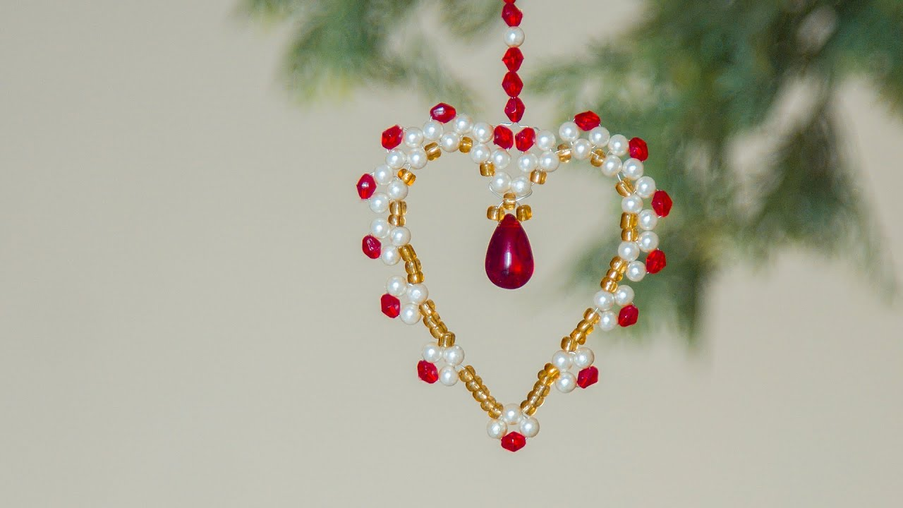 Diy beaded heart christmas ornaments christmas for Christmas decoration ideas to make