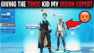 I Let a Toxic Kid on my RARE Recon Expert Fortnite Account and This Happened...